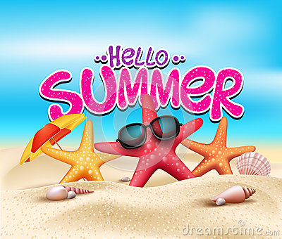 Hello Summer in Beach Seashore with Realistic Objects