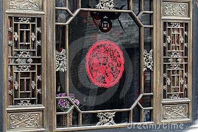 Paper-cut on the ancient window.