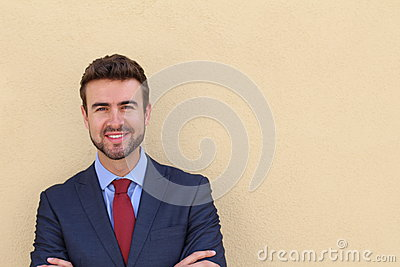 Portrait of a young handsome businessman smiling