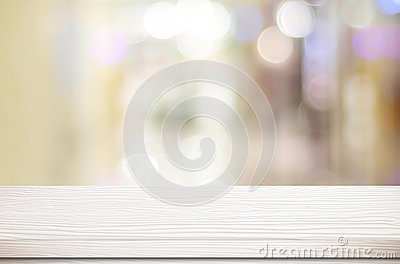 Empty white table and blurred store bokeh background, product di