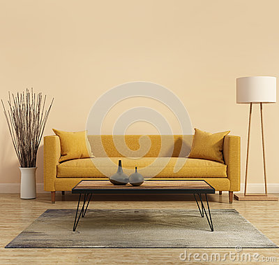 Modern Modern interior with a yellow sofa in the living room with a white minimal bathtub