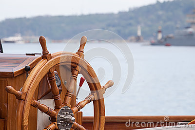 Boat steering wheel from wood