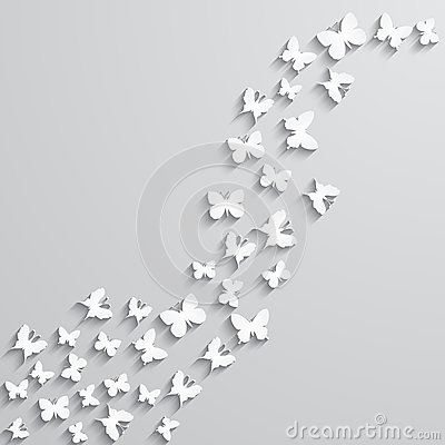 Abstract background with paper  butterfly in the wave form.