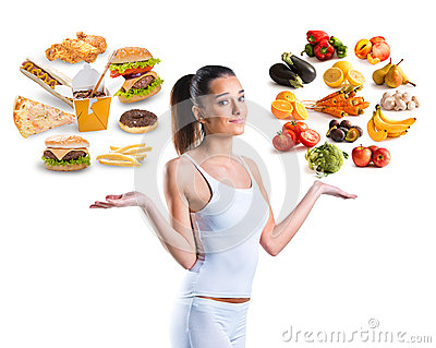 stock image of unhealthy vs healthy food
