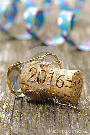 Happy new year 2016 with champagne cork