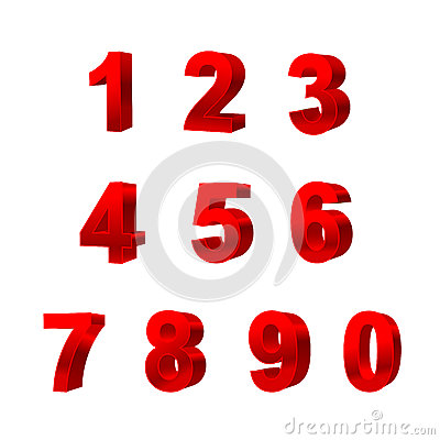 Collection of numbers isolated on white background 3D