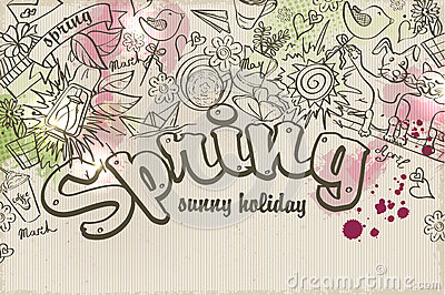 Vector background on a spring theme of doodles and watercolor stains