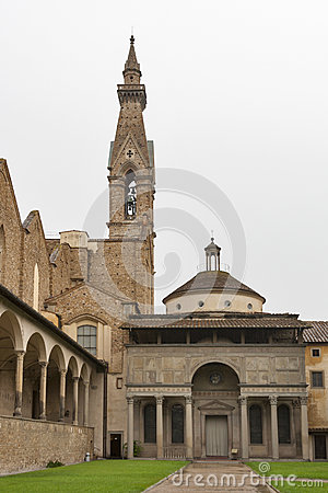 Basilica di Santa Croce in Florence, Italy. Internal court yard.