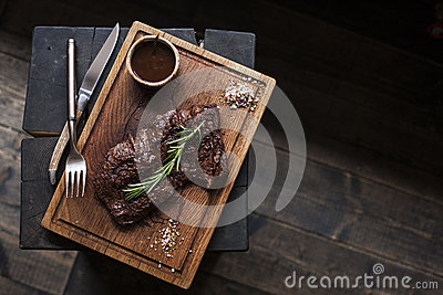 Beef steak. Piece of Grilled BBQ beef marinated in spices