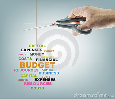 stock image of cutting budget