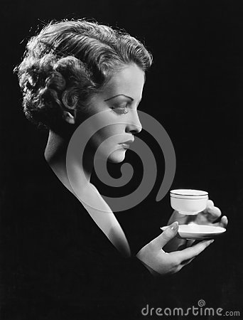 Portrait of woman with beverage