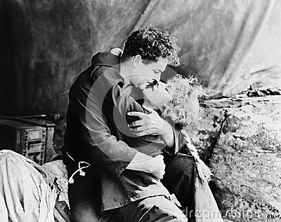 Couple in passionate embrace