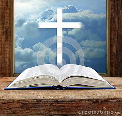 Bible christian cross stormy sky view window open