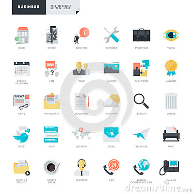 Flat design business icons for graphic and web designers