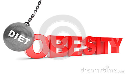 Diet Destroy Obesity Concept. Wrecking Ball as Sport with Obesi