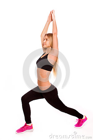 Fitness woman portrait isolated on white background