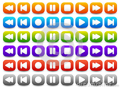 Multimedia, Audio - Video Player Control Buttons in Various Colo