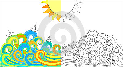 Color activity page waves and boats