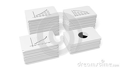 Four business paper documents stacks