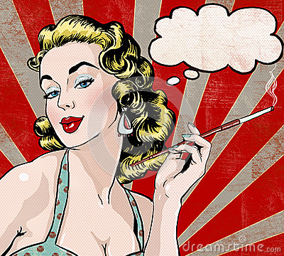Pop Art illustration of woman with the speech bubble and cigarette.Pop Art girl.Party invitation.Birthday greeting card.