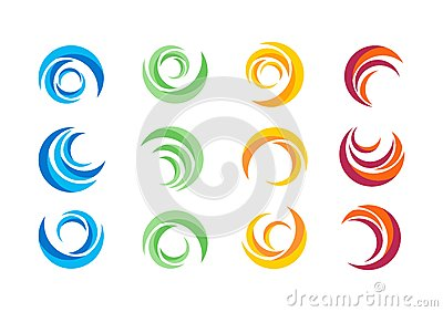 Circle,water,logo,wind,sphere,plant,leaves,wings,flame,sun,abstract,infinity,Set of round icon symbol vector design