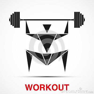 Workout logo with triangle man. Vector
