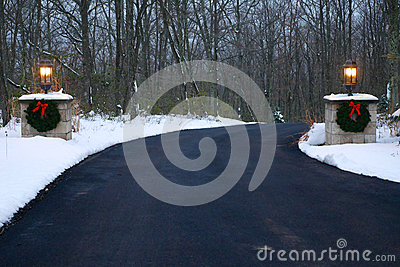 Decorated Driveway in Winter