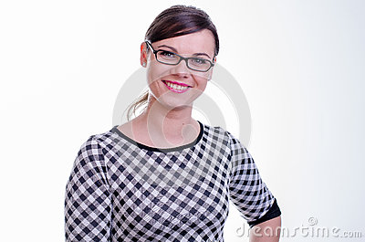 Portrait of a young brunette secretary / teacher or a business woman
