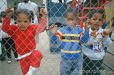 African-American preschoolers in a playground