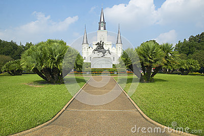 Andrew Jackson Statue & St. Louis Cathedral, Jackson Square in New Orleans, Louisiana