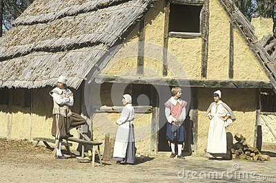 Participants in period costume in Historic Jamestown, Virginia, site of first English settlement