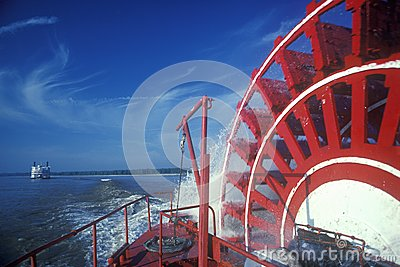 A steamboat paddle wheel on the Delta Queen Steamboat, Mississippi River