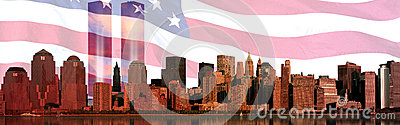 Digital composite: Manhattan skyline, American flag, World Trade Center Light Memorial