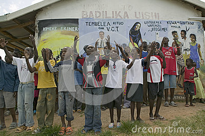 A group of HIV/AIDS infected children sing song about AIDS at the Pepo La Tumaini Jangwani, HIV/AIDS Community Rehabilitation Prog