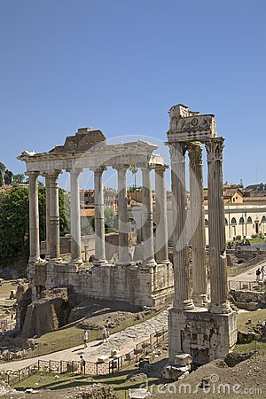 Temple of Saturn and Temple of Vespasian at Roman Forum seen from the Capitol, ancient Roman ruins, Rome, Italy, Europe