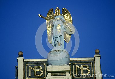Angel ornamentation on rooftop in Amsterdam, Holland