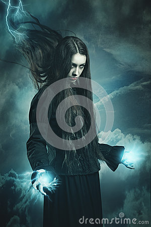 Dark witch calling thunder powers