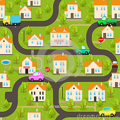Background Funny Wallpaper Small Town - Town map for kids