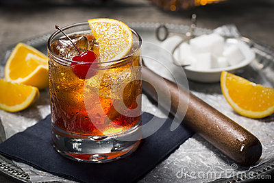 Old Fashioned Cocktail on a Tray with Ingredients