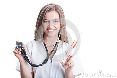 Portrait of an attractive female doctor or medic
