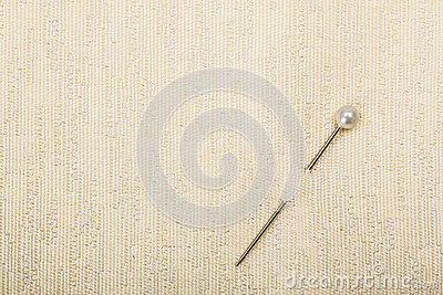 Pin inserted in fabric