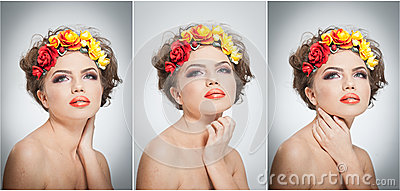 Portrait of beautiful girl in studio with yellow and red roses in her hair and naked shoulders. Sexy young woman