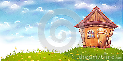 Vector illustration of cartoon home on meadow