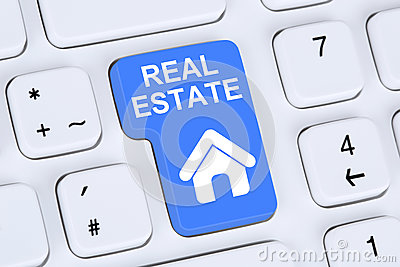 Selling or buying a real estate home icon online on the computer