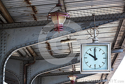 Old clock and lamp