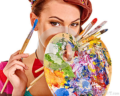 Artist woman with paint palette