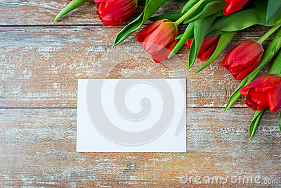 Close up of red tulips and blank paper or letter