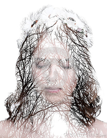 Womans portrait and a forrest with no leaves