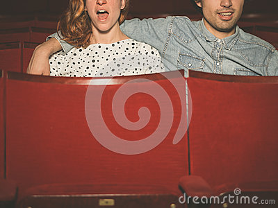 Couple watching an exciting film in a movie theater