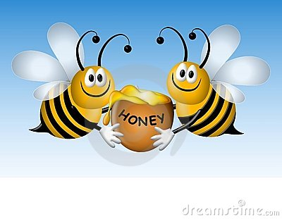 Busy Cartoon Bees With Honey